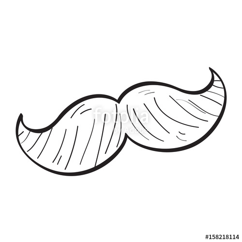 500x500 Isolated Retro Outline Of A Mustache, Vector Illustration Stock