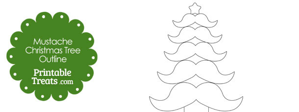 610x229 Mustache Christmas Tree Outline Printable
