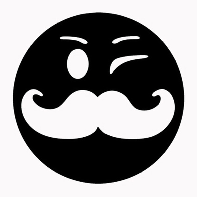 640x640 Smiley Face With Mustache Cartoon Fashion Car Styling Car Sticker