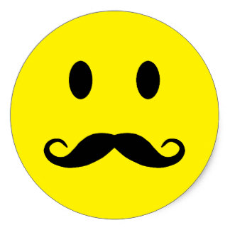 324x324 Smiley Face With Mustache Stickers Zazzle