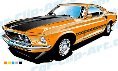 500x300 1969 Ford Mustang Mach 1 Vector Clip Art Clip Art, Ford Mustang