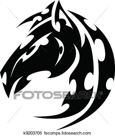 399x470 Clipart Of Mustang Stallion Horse Tribal Tattoo Vector Image