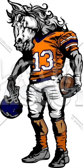 291x590 Bronco Football Clipart Graphic Vector Cartoon