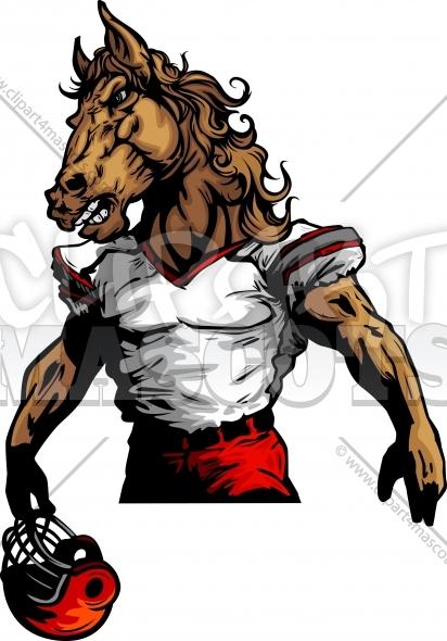 412x590 Bronco Football Mascot Graphic Vector Cartoon