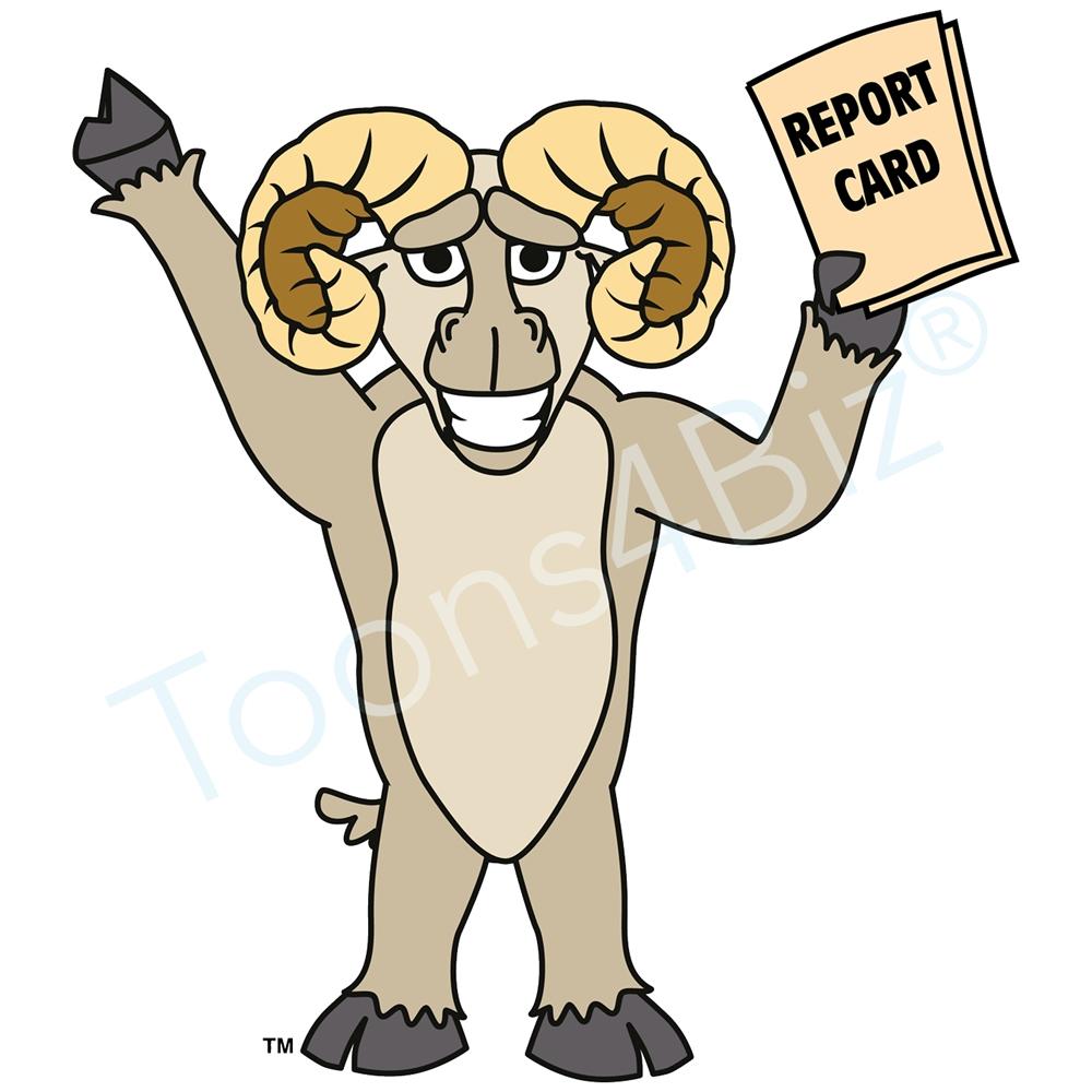 1000x1000 Ram Mascot Clip Art Holding Report Card Clip Art