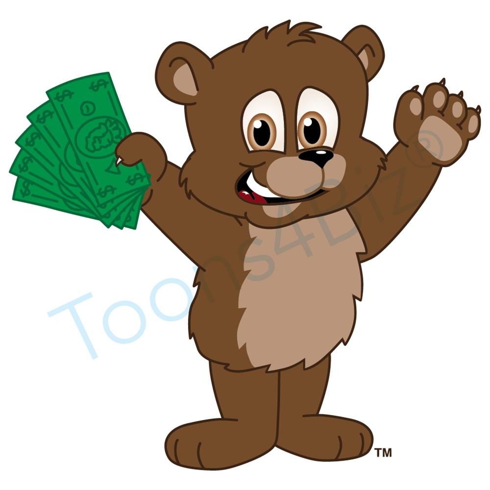 1000x1000 Bear Mascot Holding Money Clip Art