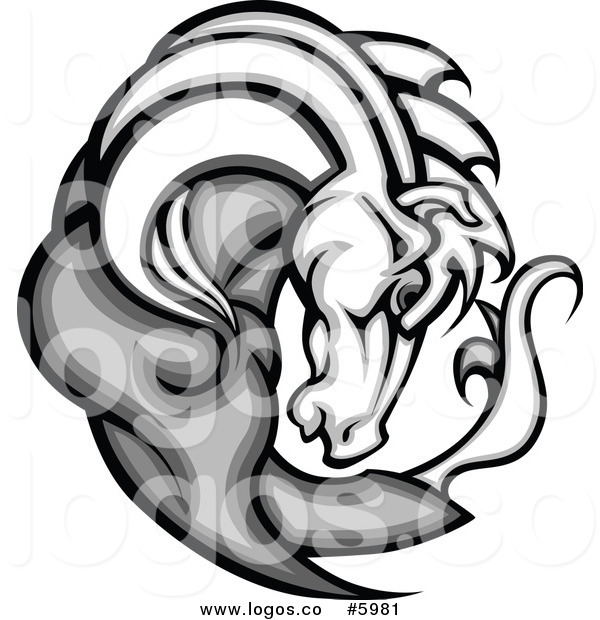 600x620 Royalty Free Vector Of A Logo Of A Gray And White Horse Head By