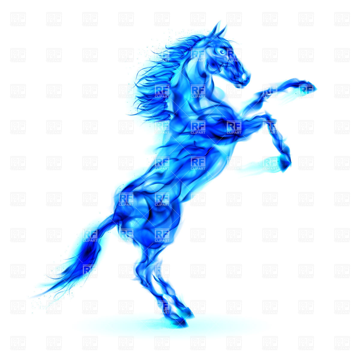 1200x1200 Blue Fire Horse Rearing Up Royalty Free Vector Clip Art Image