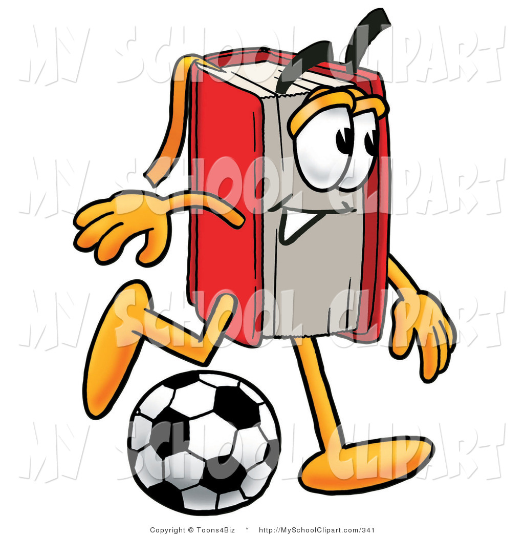 1024x1044 Clip Art Of An Athletic Red Book Mascot Cartoon Character Kicking