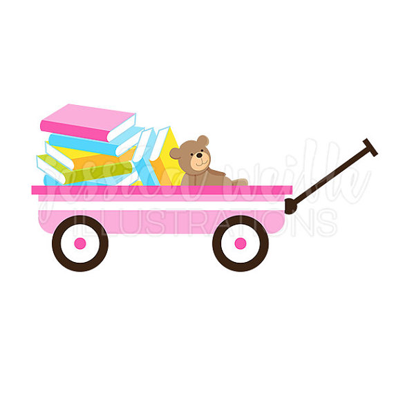 570x570 Pink Wagon Of Books Cute Digital Clipart, Book Wagon Clip Art