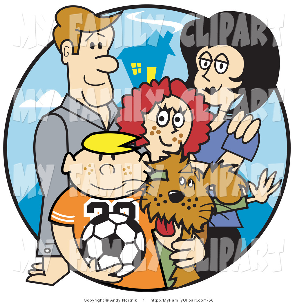 1024x1044 Clip Art Of A Happy Family Of Four With A Brown Dog And A Soccer