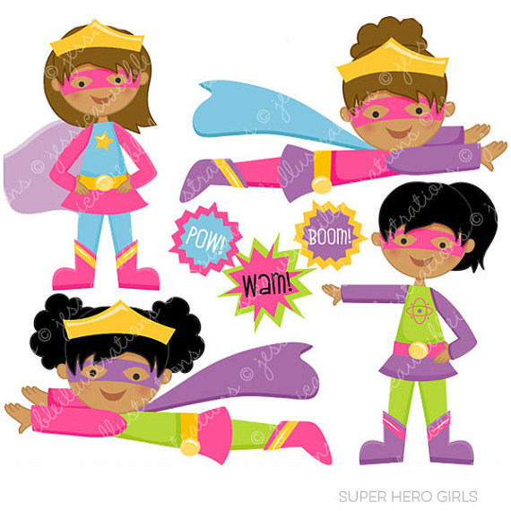 570x570 Super Hero Girls V2 Cute Digital Clipart For Commercial