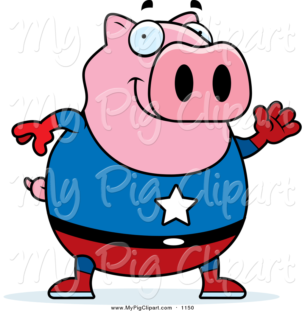 1024x1044 Swine Clipart Of A Chubby Super Hero Pig Waving By Cory Thoman