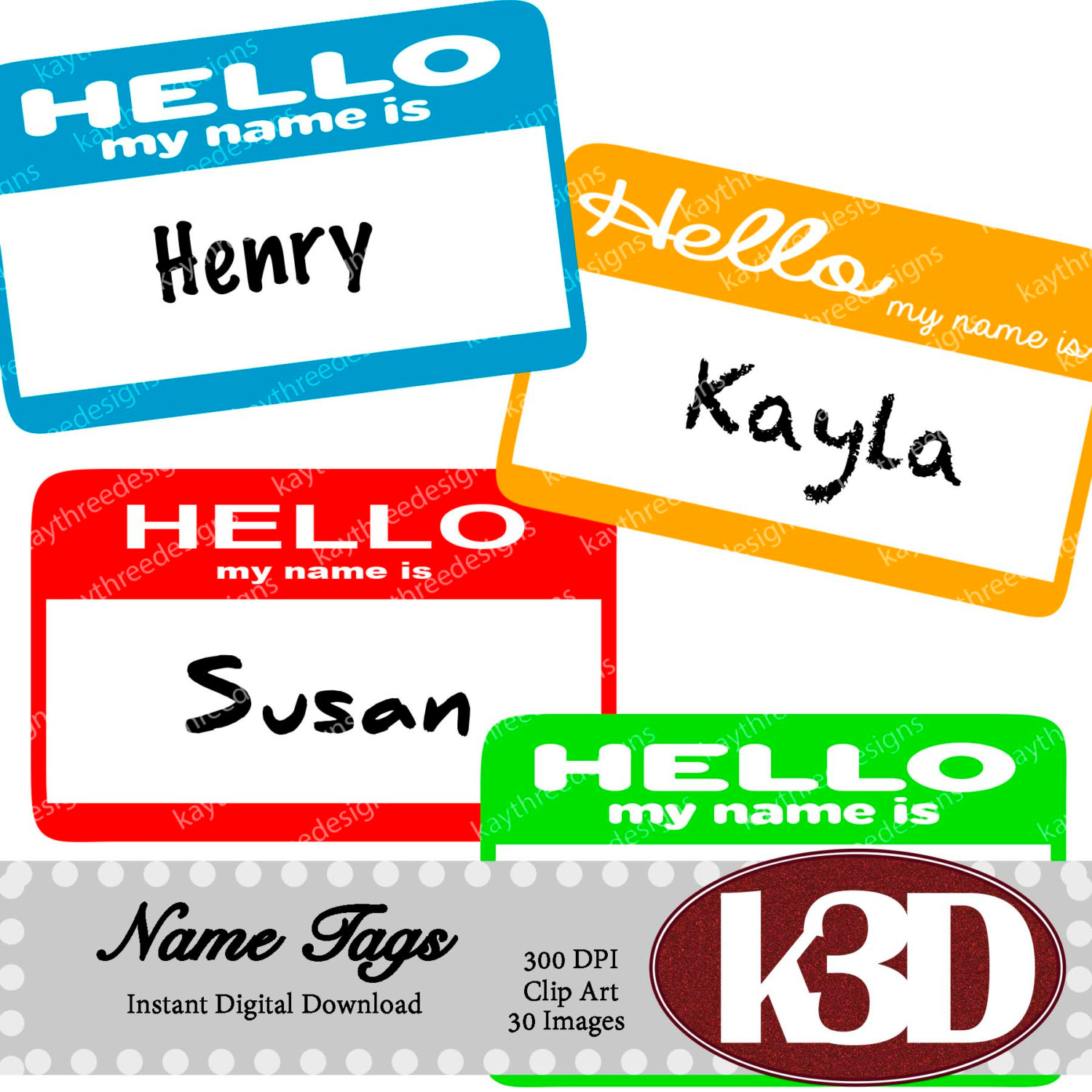 1500x1500 Name Tags, Hello My Name Is Name Tags, Rainbow Name Tags