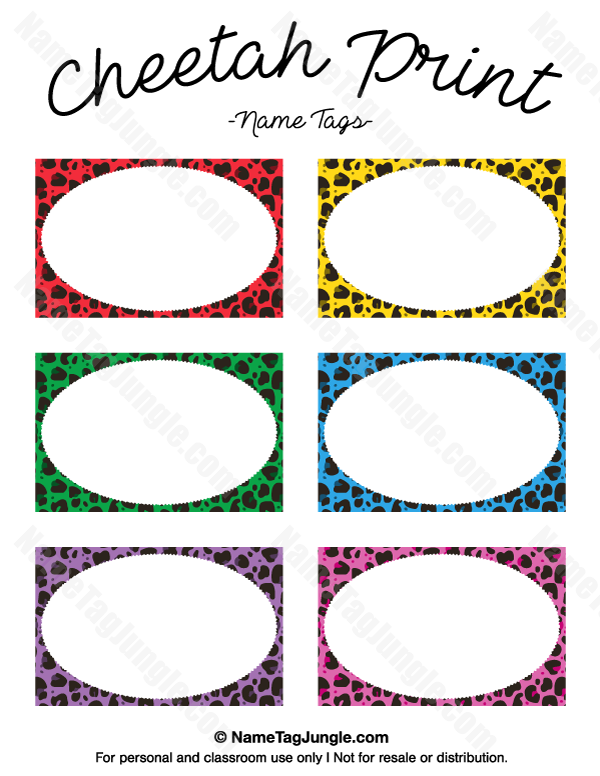 600x776 Free Printable Cheetah Print Name Tags. The Template Can Also Be