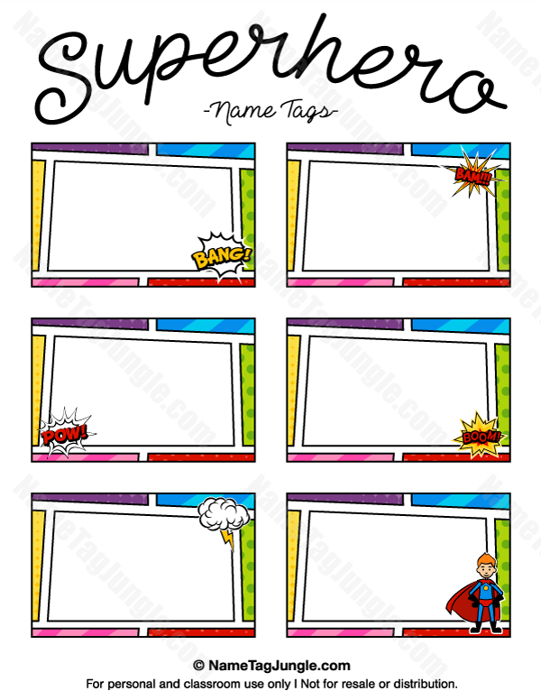 600x776 Free Printable Superhero Name Tags. Each Name Tag Features A Comic