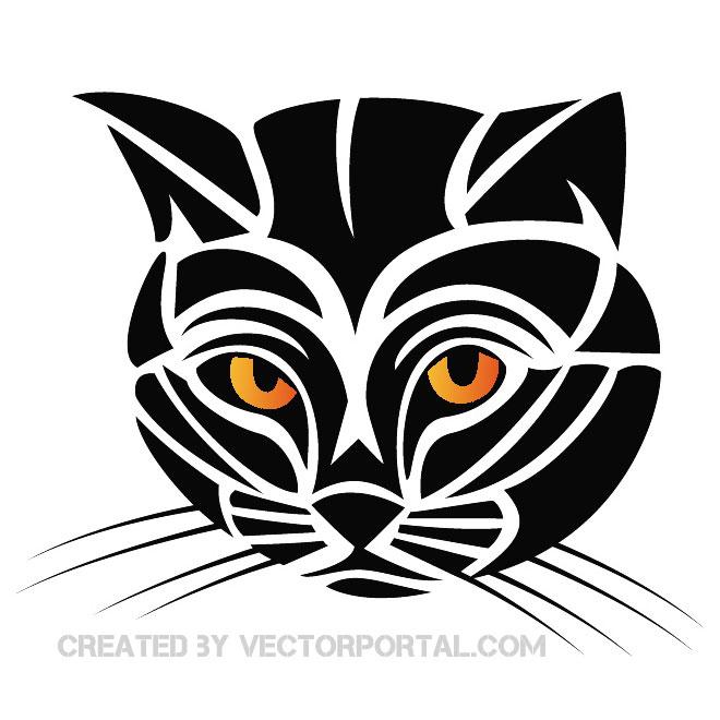 660x660 Tribal Cat Vector Clip Art