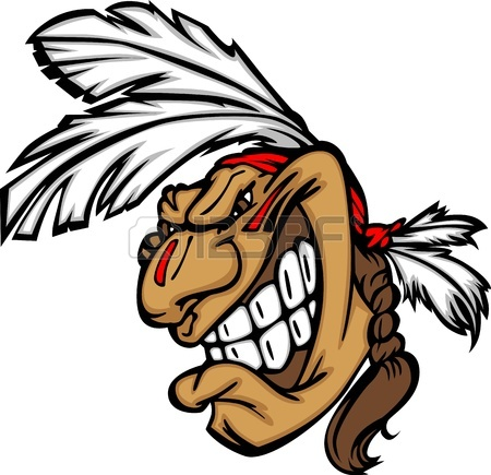 450x435 Cartoon Native American Indian Brave Mascot With Feathers