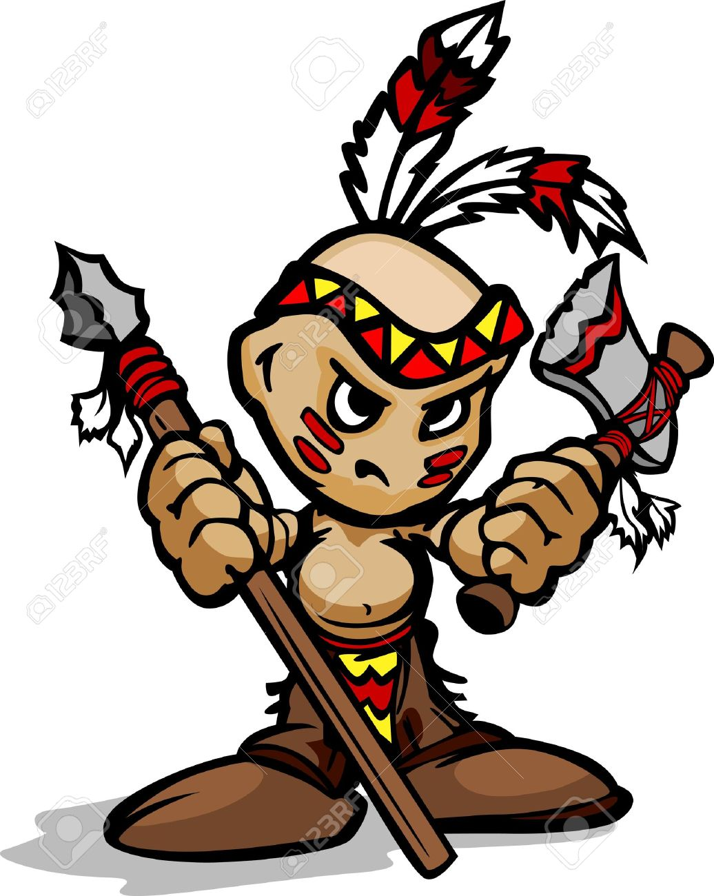 1036x1300 Cartoon Vector Illustration Of A Tough Kid Indian Brave