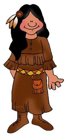 236x488 Native American Indian Girl Thanksgiving Clip Art