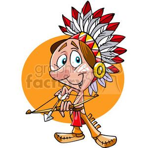 300x300 Royalty Free Native American Guy Bow And Arrow Cartoon 391494