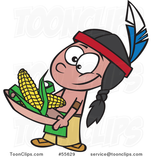 581x600 Cartoon Native American Boy Holding Corn