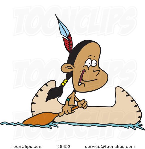 581x600 Cartoon Native American Boy In A Canoe