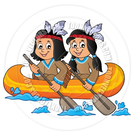 460x460 Cartoon Native American Children In Boat Theme By Clairev Toon