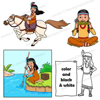 350x350 Native American Clip Art Kids By Dancing Crayon Designs Tpt