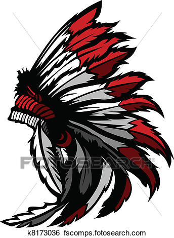 344x470 Clip Art Of American Native Indian Feather Head K8173036