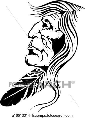 339x470 Clipart Of Illustration, Lineart, Indian, Native, American