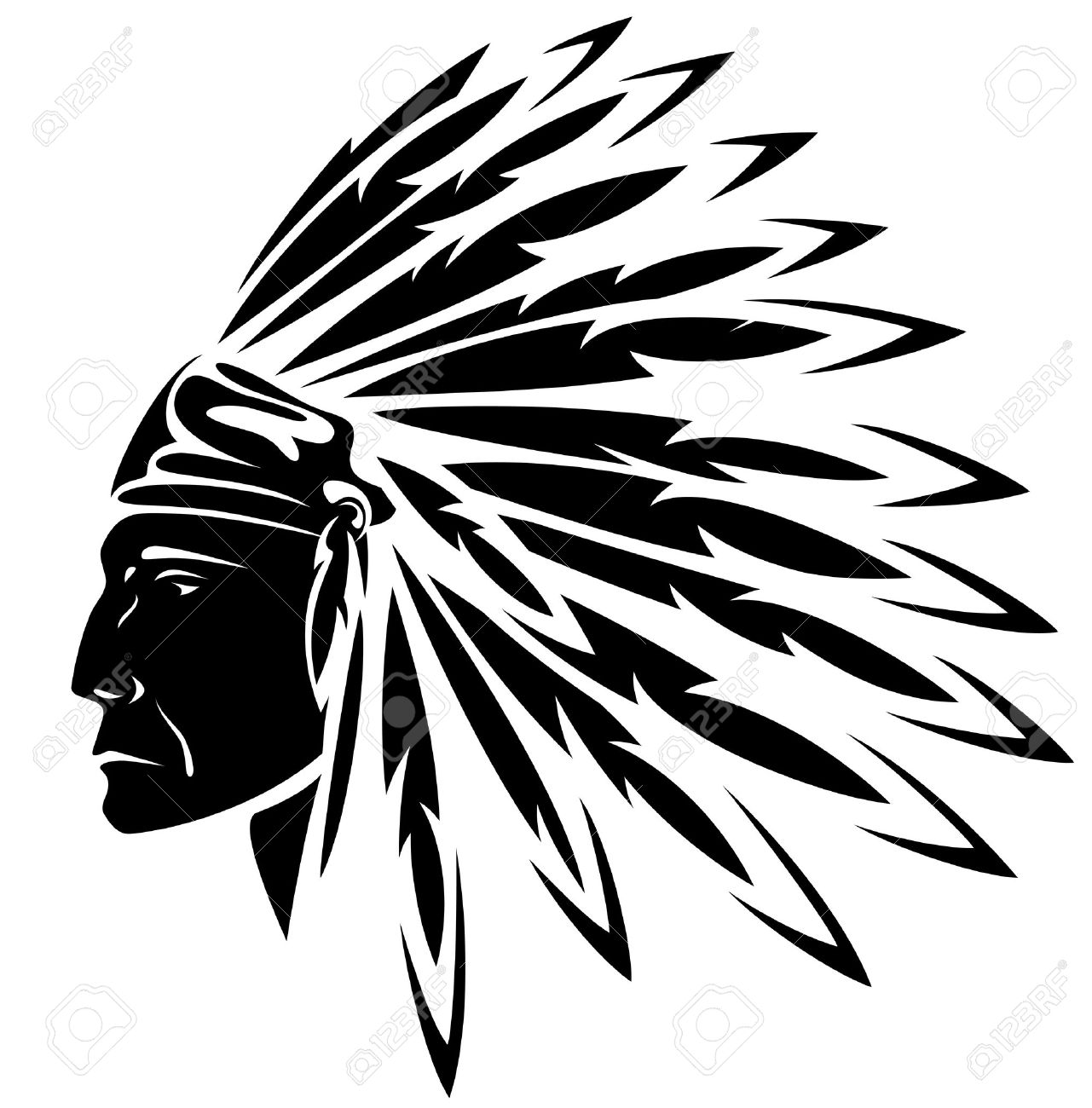 1281x1300 Red Indian Chief Black And White Illustration Royalty Free