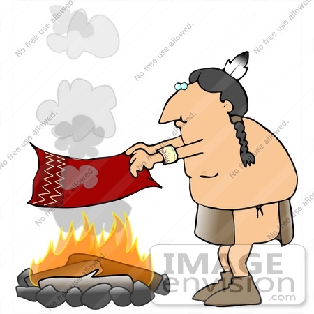 450x450 Native American Man Fanning A Fire With A Blanket To Create Smoke