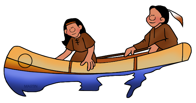 648x342 Native Americans Clip Art By Phillip Martin, Southeast Woodland Canoe