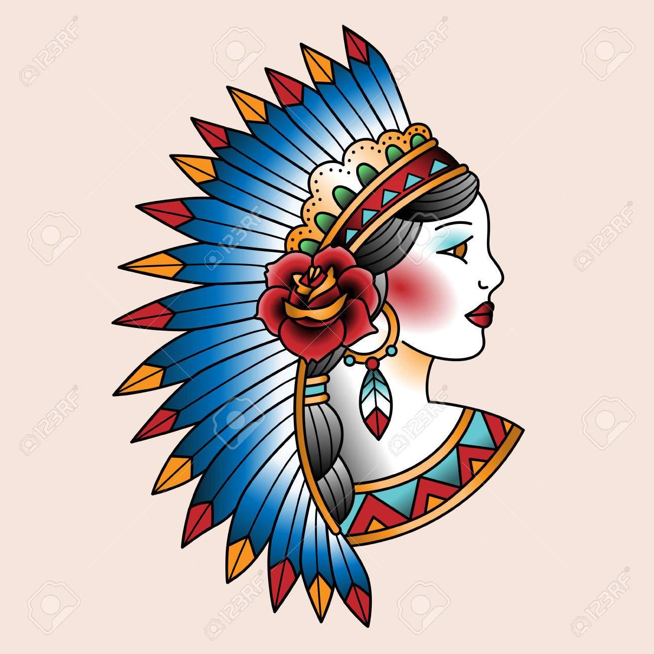 1300x1300 Native American Girl In National Headdress. Tattoo Art