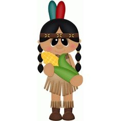 236x236 Native American Indian Girl Thanksgiving Clip Art