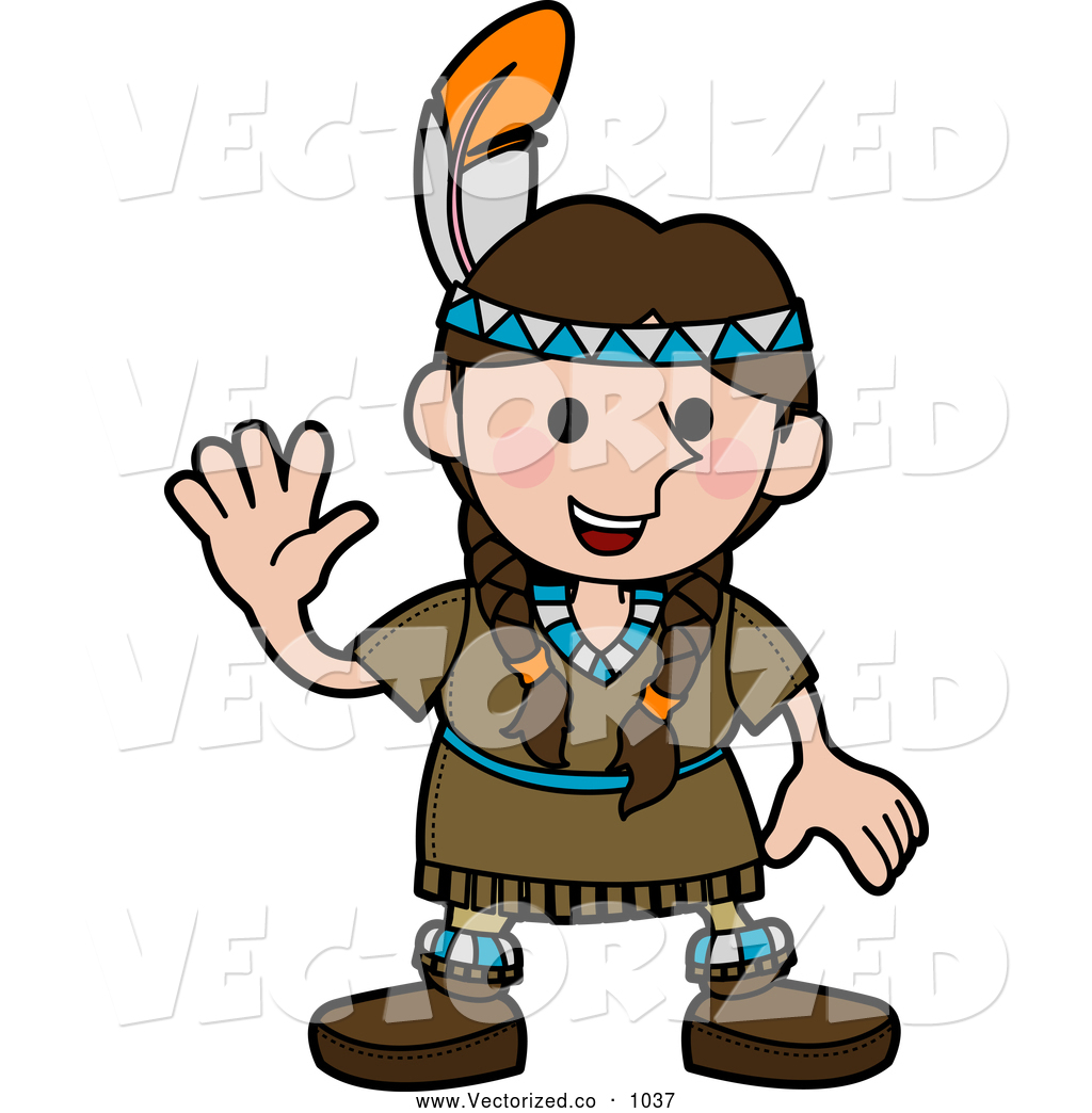 1024x1044 Royalty Free Clipart Of A Grinning Friendly Girl In A Native