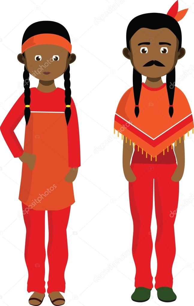 647x1023 Cartoon Couple Of American Indians. Native American Man And Woman