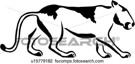 450x216 Clipart Of , American, Lion, Mountain, Native, Aminal, U15779182