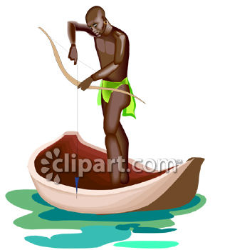 316x350 African Native Man Fishing With A Bow From A Canoe