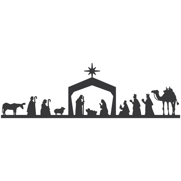 600x600 Nativity Black And White Black Nativity Scene Clipart Clipartfest