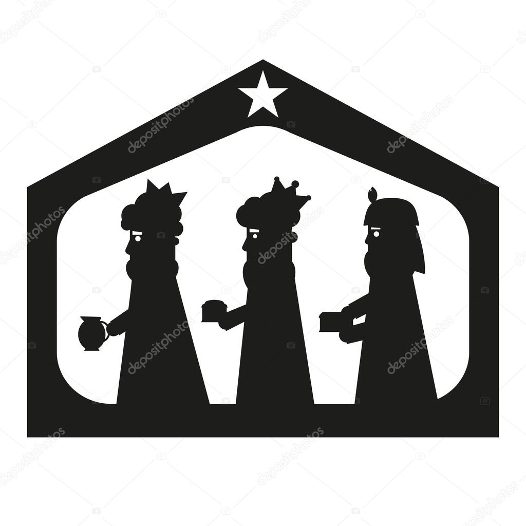 1024x1024 Three Kings Or Three Wise Men Silhouette. Christmas Nativity
