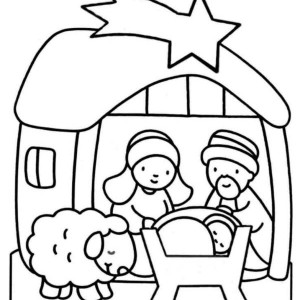 300x300 Jesus Born In Bethlehem In Nativity Coloring Page Color Luna