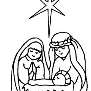 300x300 Jesus Is Born In A Manger In Nativity Coloring Page Color Luna