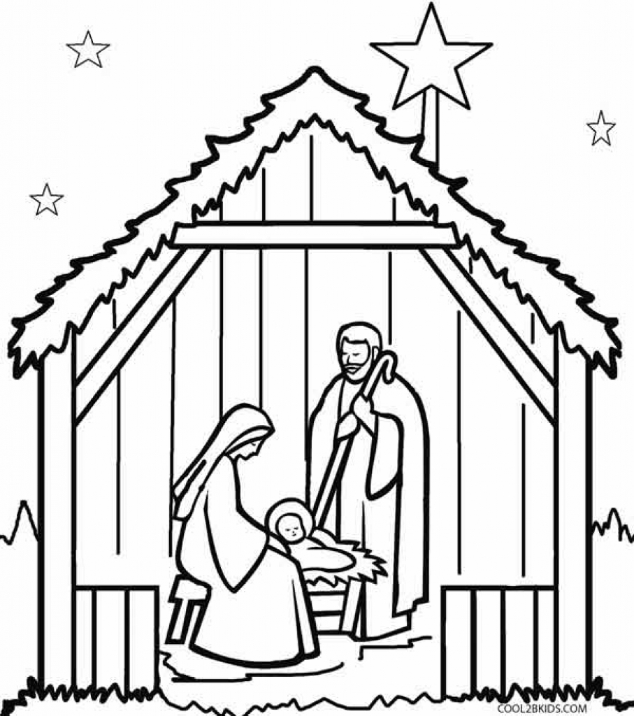907x1024 Nativity Scene Coloring Pages Regarding Inspire In Coloring Image