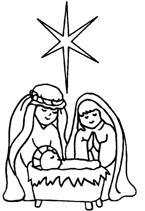 600x870 Star Of Bethlehem In Born Of Baby Jesus Coloring Page Kids Play