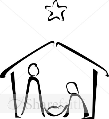 354x388 Black and White Nativity Sketch Nativity Clipart