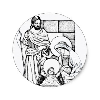 324x324 Christmas Nativity Scene Stickers Zazzle