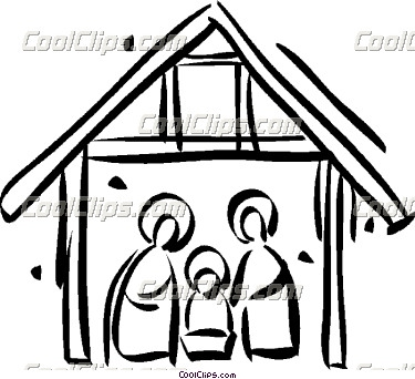 375x342 Christmas Scene Black And White Clipart