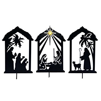 355x355 Lighted Shadow Nativity Shadow Stakes, Black Garden